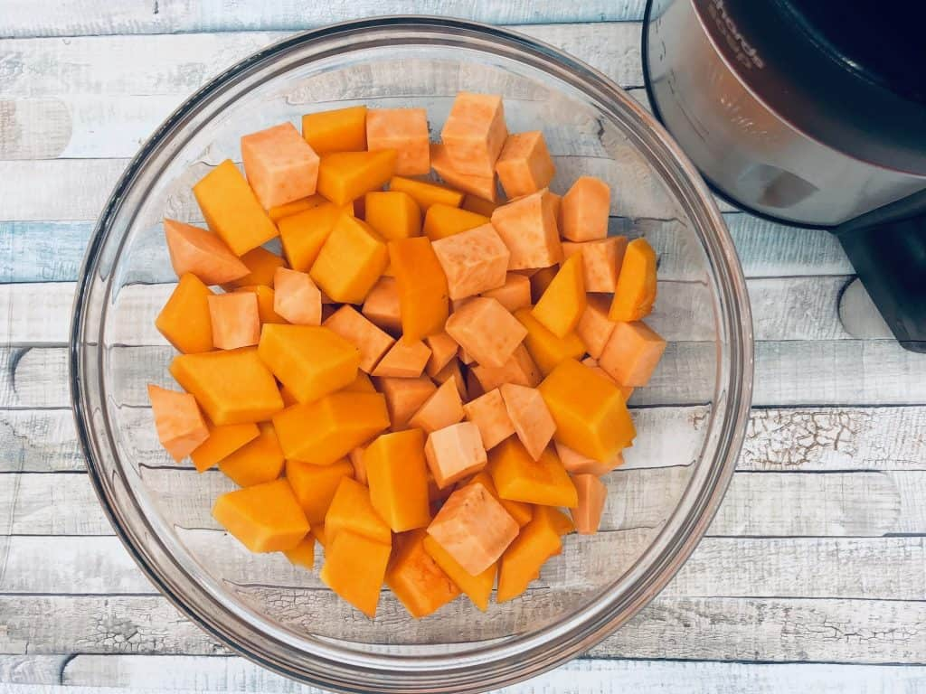 butternut squash and sweet potato in a soup maker