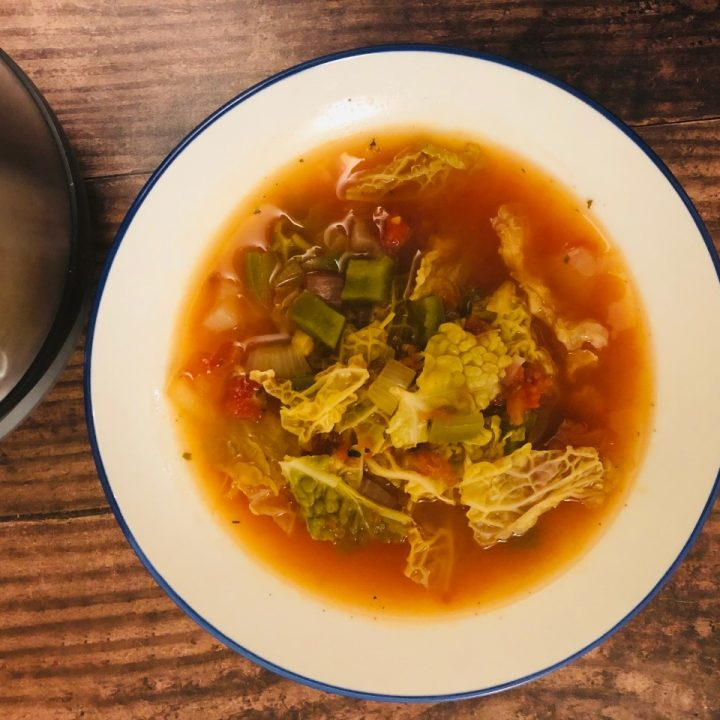 cabbage soup in bowl next to soup maker