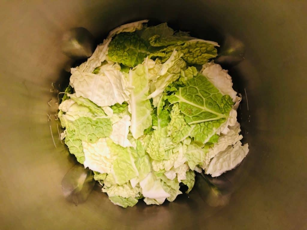 shredded cabbage in soup maker