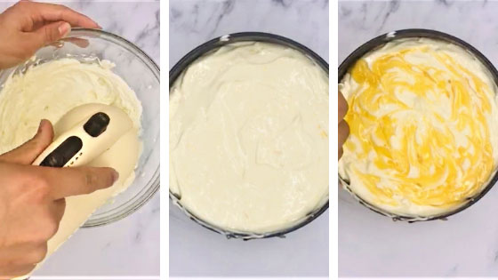 steps to making cheesecake topping