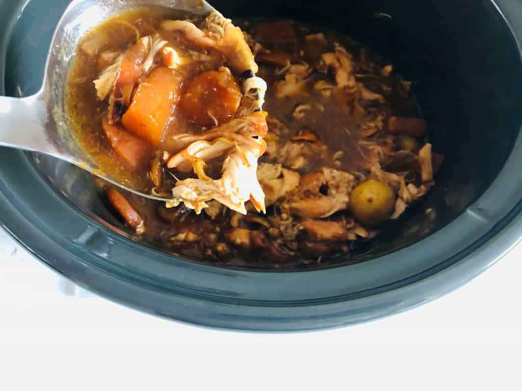 thickening up the gravy after the chicken casserole has finished cooking in the slow cooker