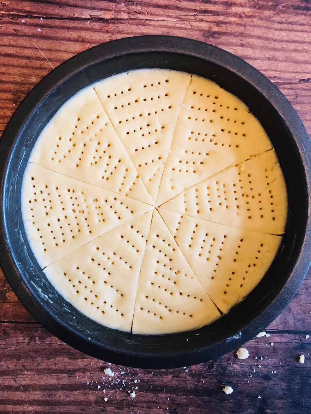 shortbread dough in baking tin ready to go in the oven