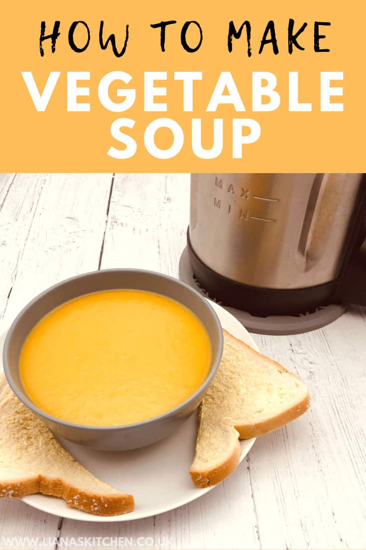 vegetable soup in soup bowl with bread and soup maker
