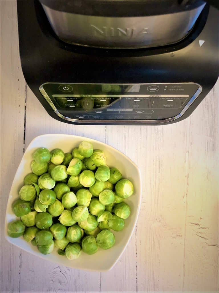 sprouts in bowl next to ninja soup maker