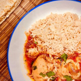 slow cooker chicken curry on a plate