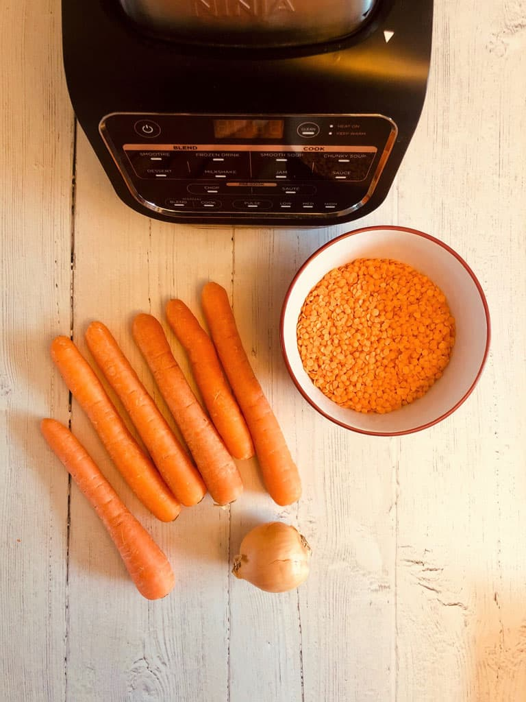 ingredients for carrot and lentil soup