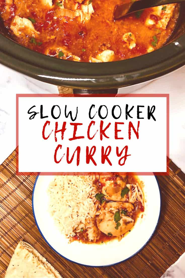 chicken curry on plate next to slow cooker