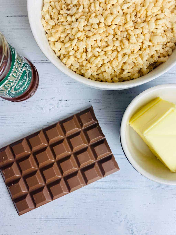 Ingredients for chocolate rice Krispy cake