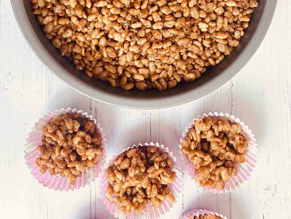 rice crispy cakes in baking tin and cupcake cases