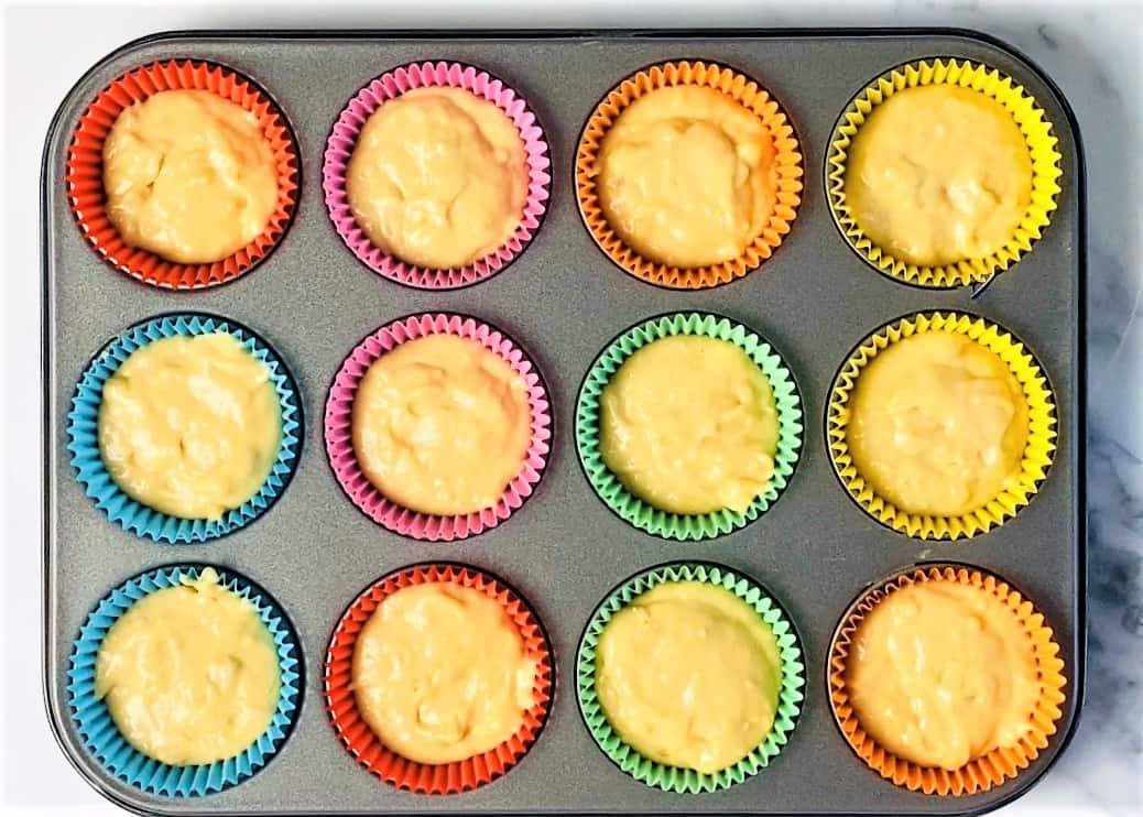 banana muffin batter in cases