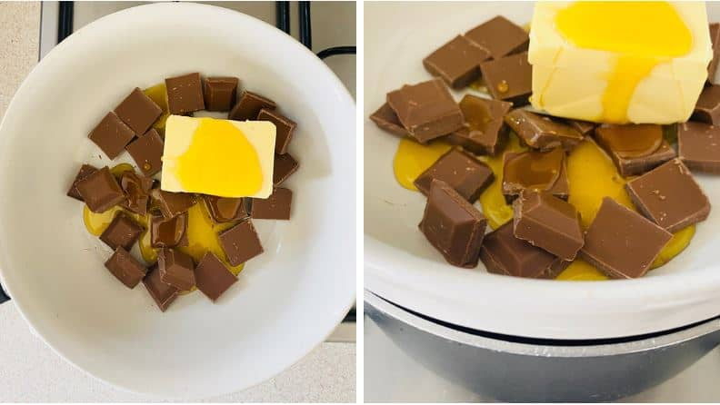 Melting chocolate, butter and golden syrup in a bowl using the double boiler method.