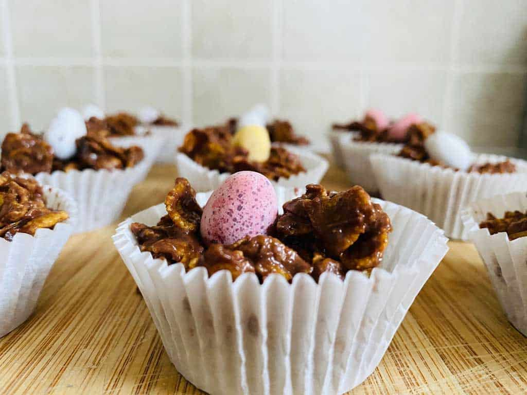 Chocolate Cornflake Cakes with mini eggs on top