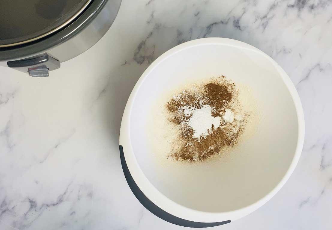 flour, cinnamon, baking powder