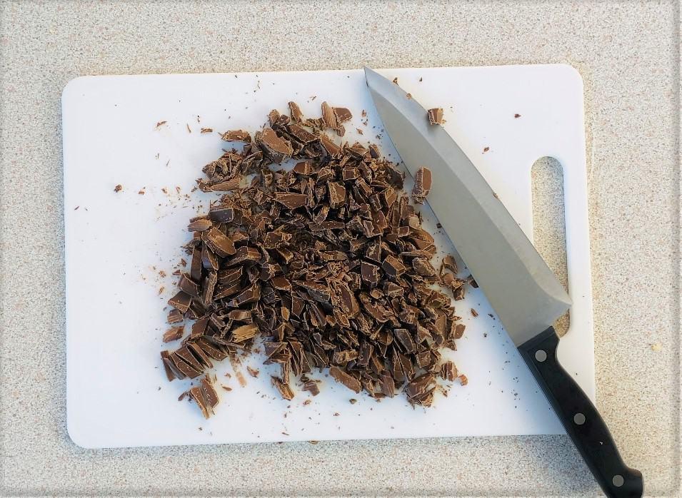 chopped up chocolate