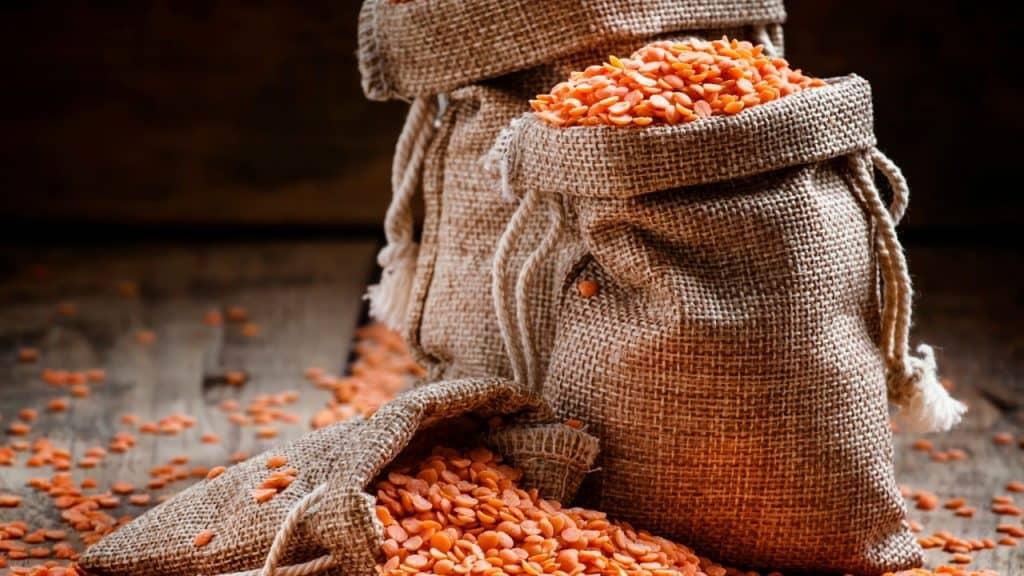 split red lentils in a bag