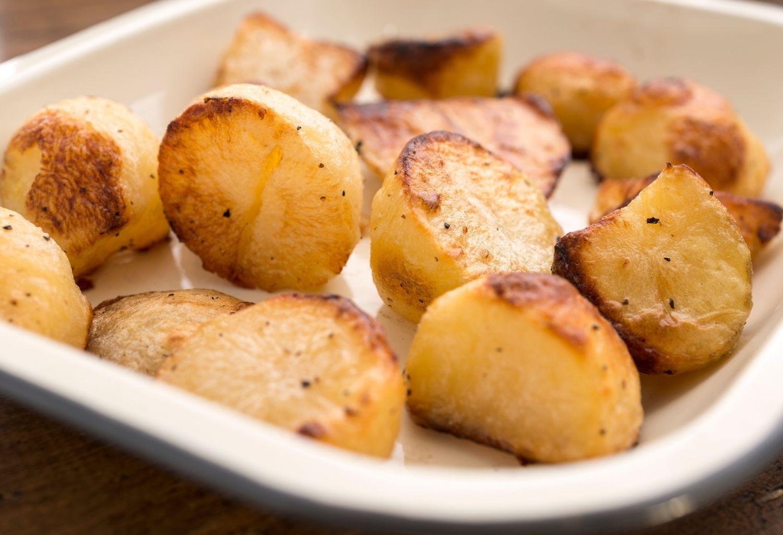 roasted potatoes in baking tin