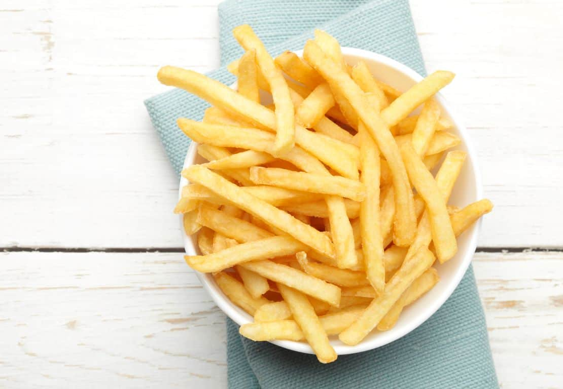 air fried chips in bowl