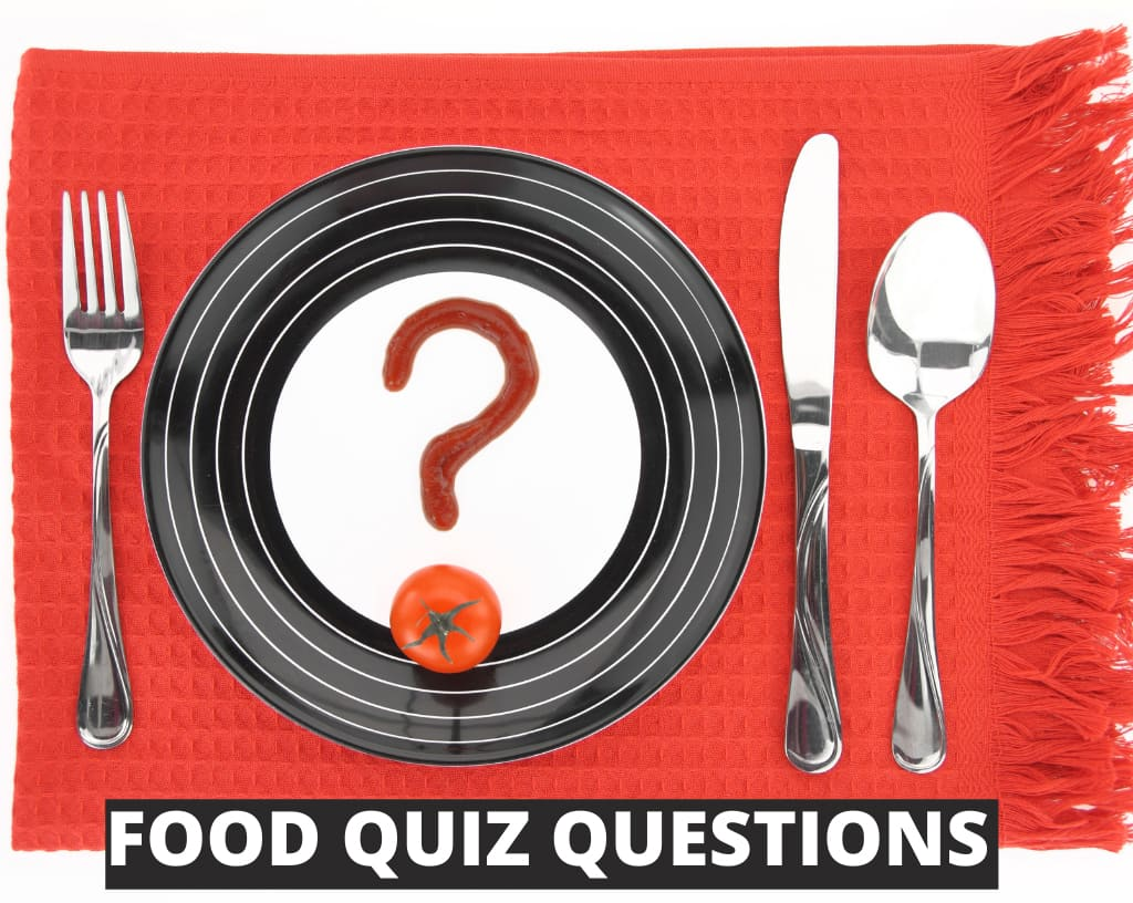 food quiz questions with plate and cutlery