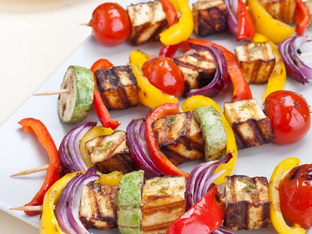 halloumi kebabs on BBQ