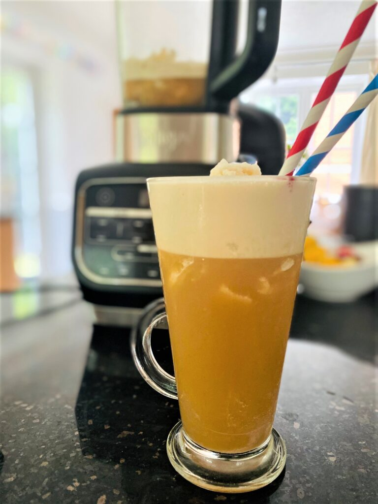 making iced coffee in a blender