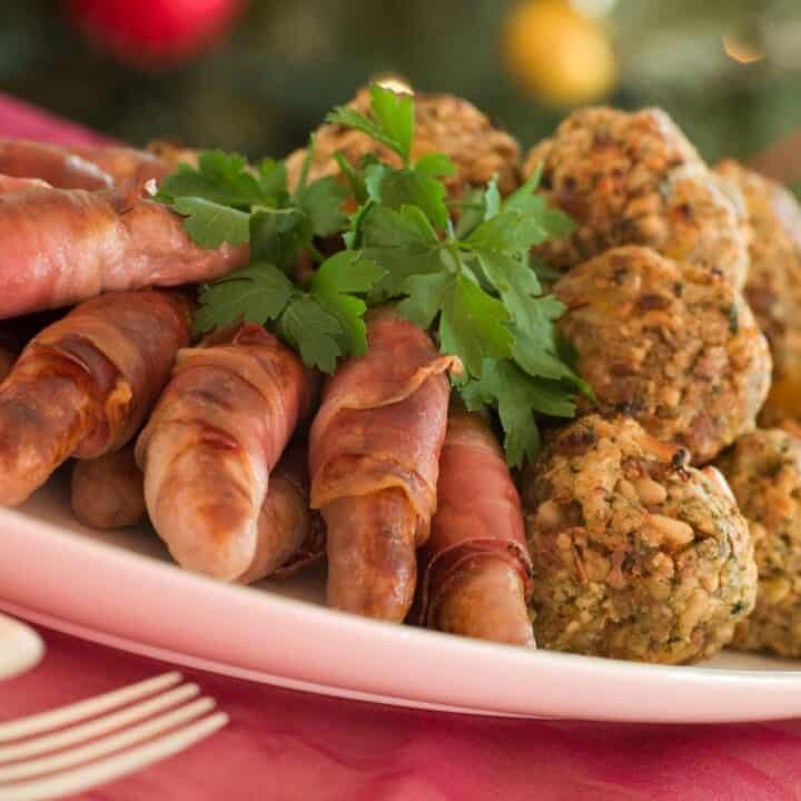 Pigs in blankets and stuffing
