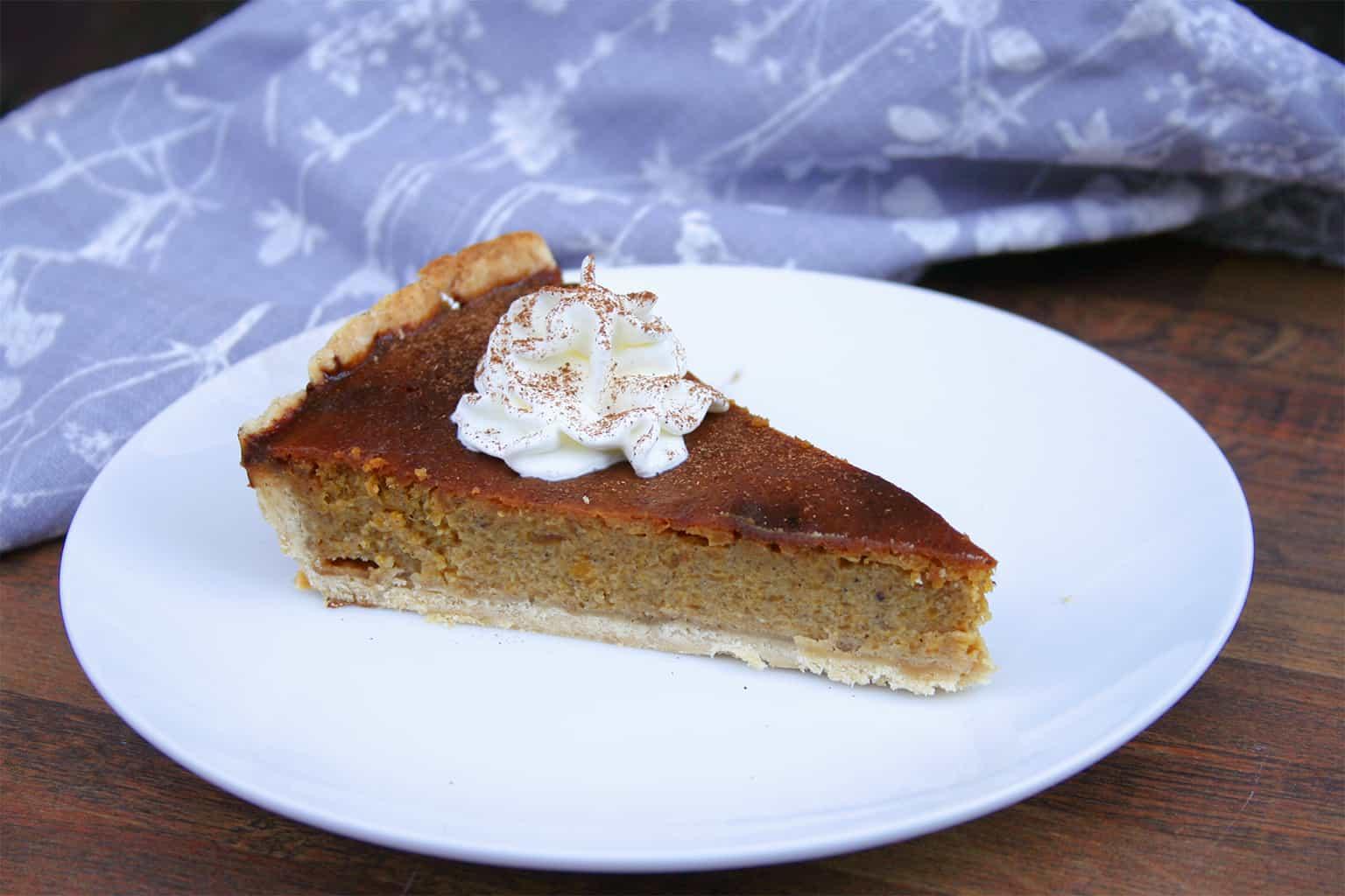 Pumpkin pie slice on plate