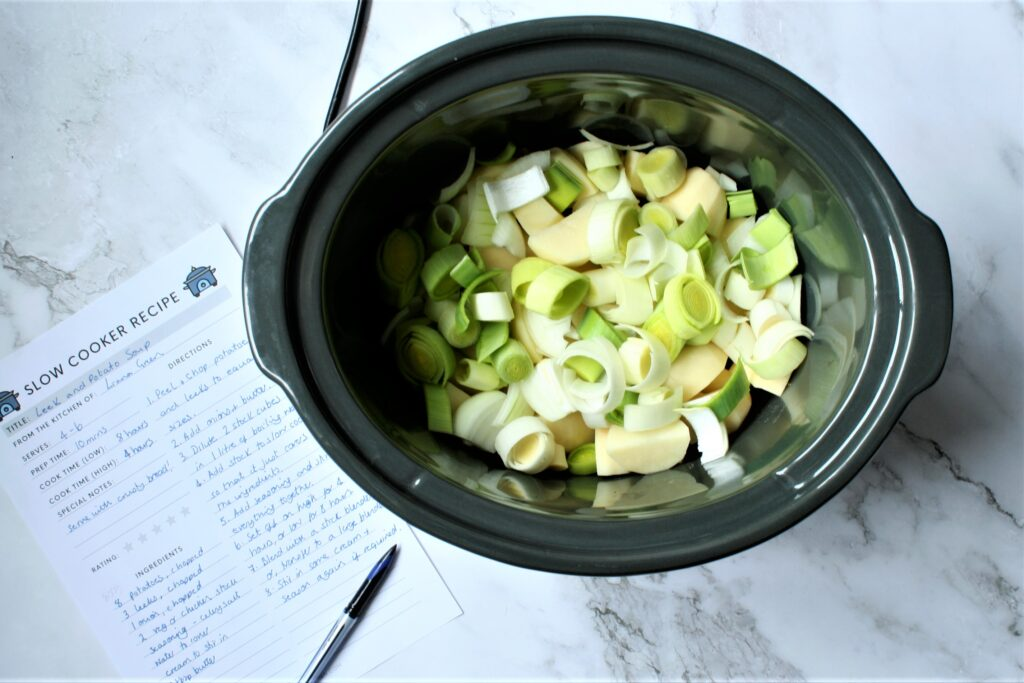 Slow cooker leek potato soup