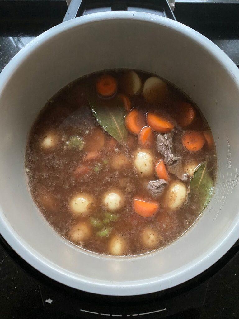 all ingredients in Ninja Foodi for beef stew