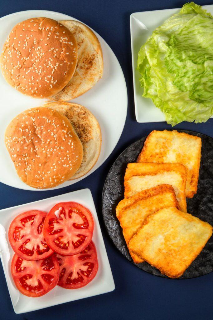 assembling halloumi burger