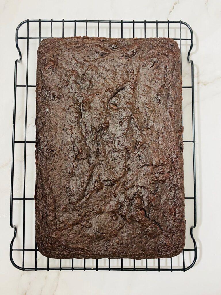 beetroot brownie on wire rack