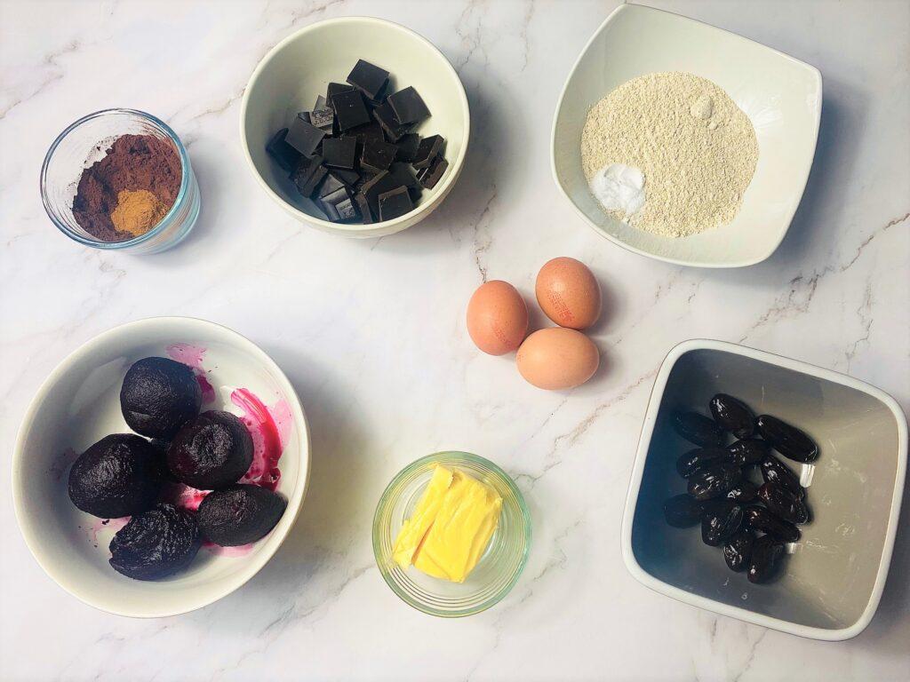 ingredients for beetroot brownies