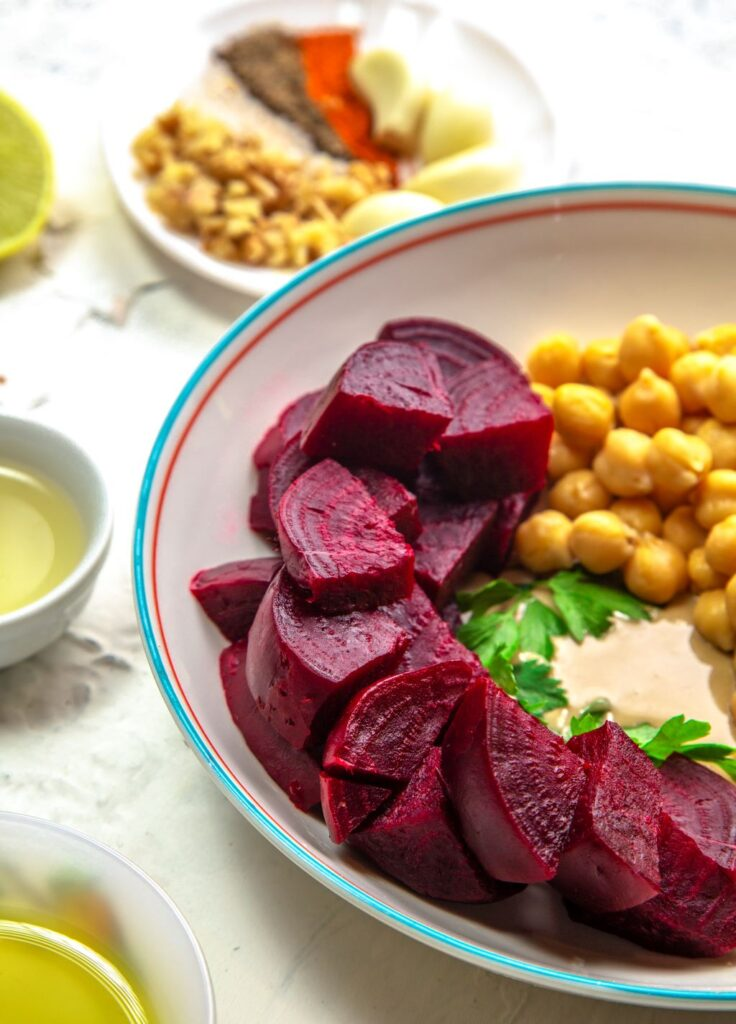 boiled and chopped beetroot for hummus