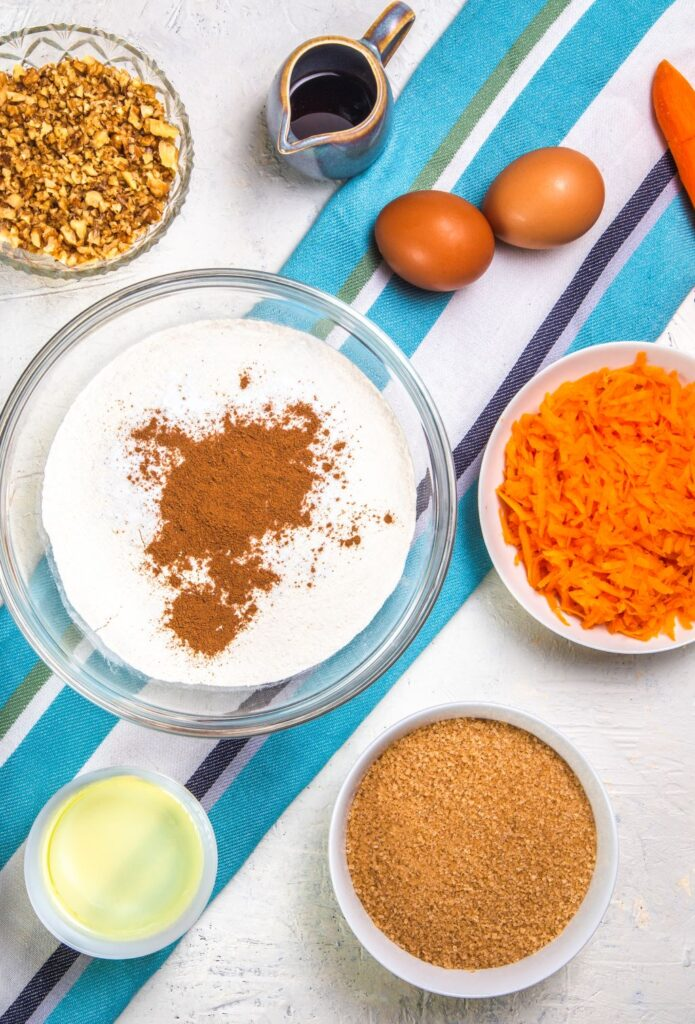 ingredients for carrot loaf cake
