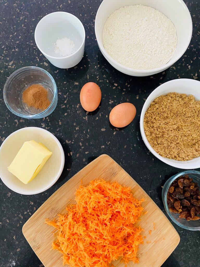 carrot cake tray bake ingredients
