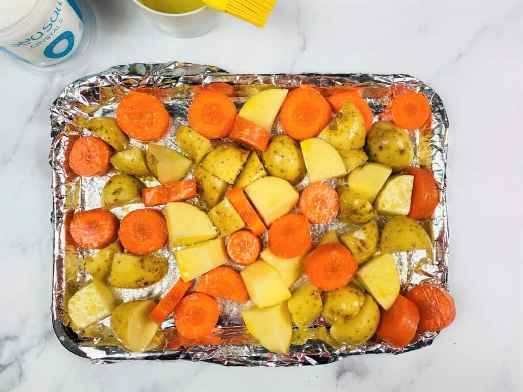 carrots and potato tray bake