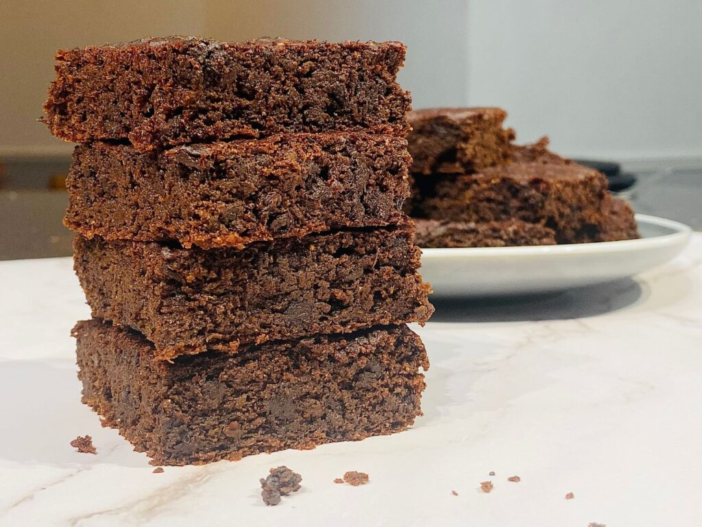 beetroot chocolate brownies piled on top of each other