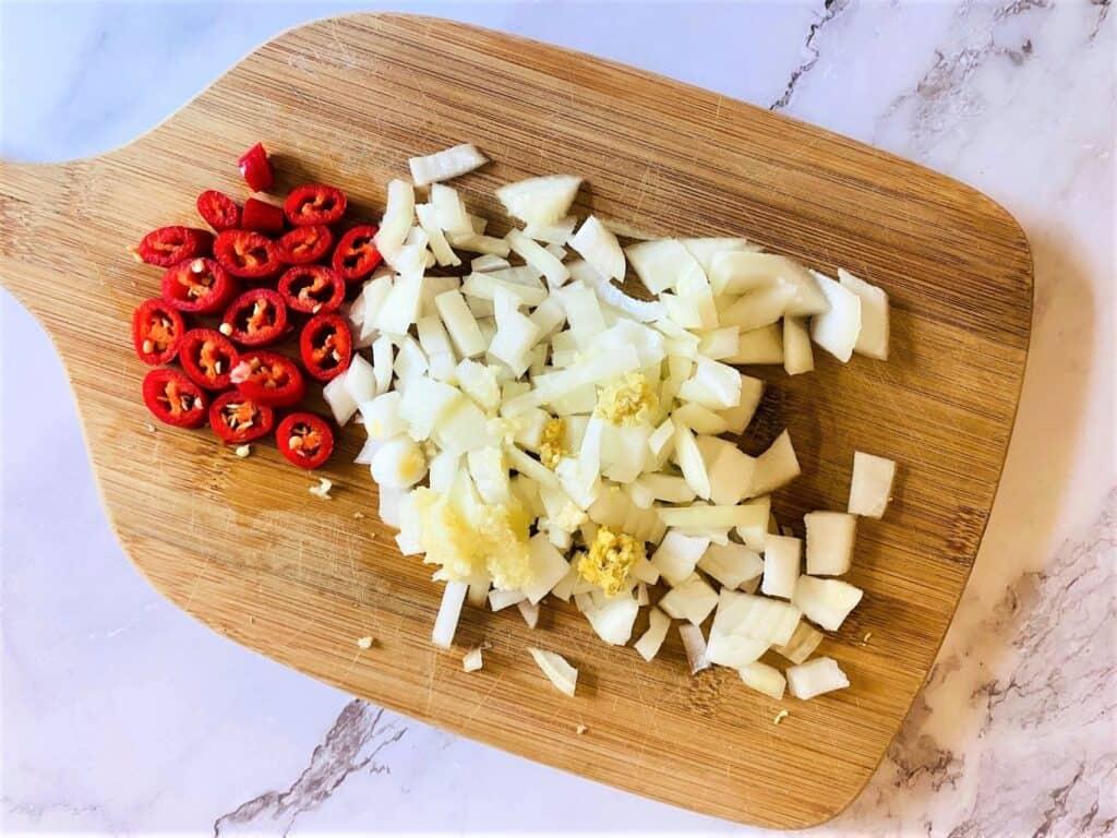 chopped onions and chilli