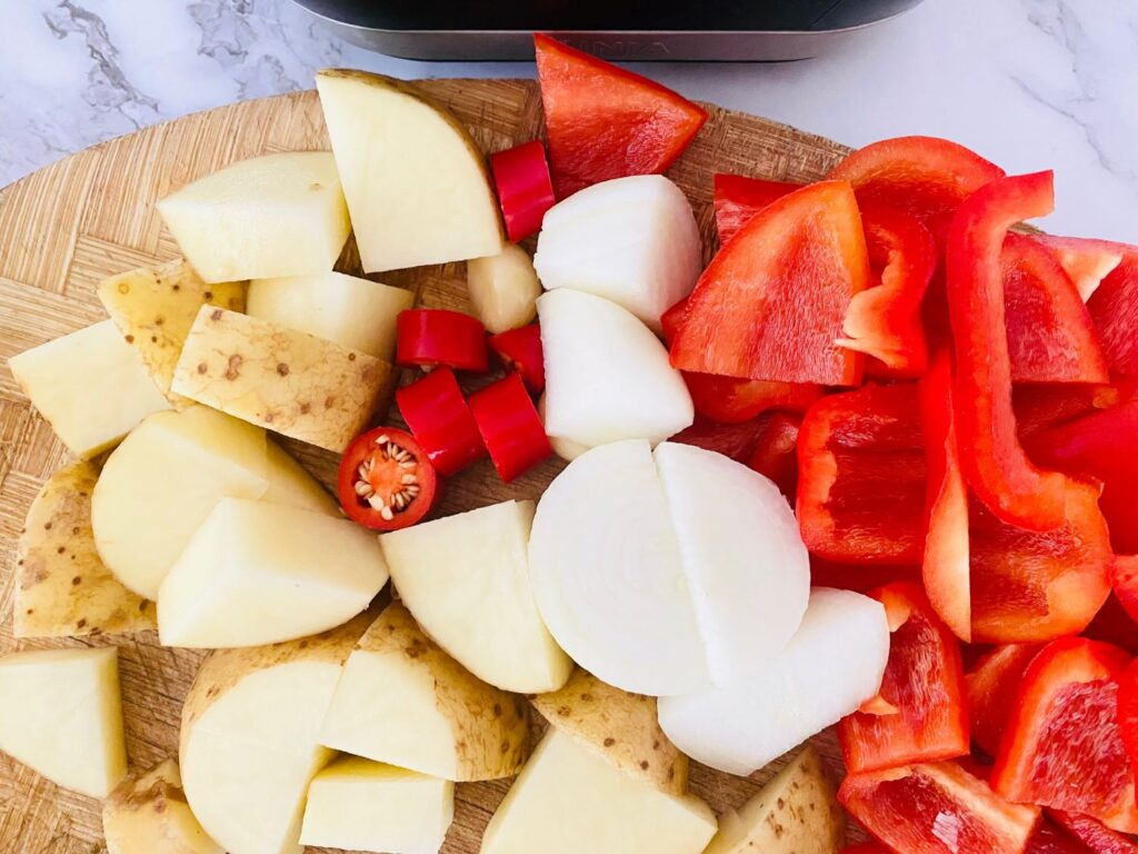 chopped ingredients for red pepper chilli soup in a soup maker