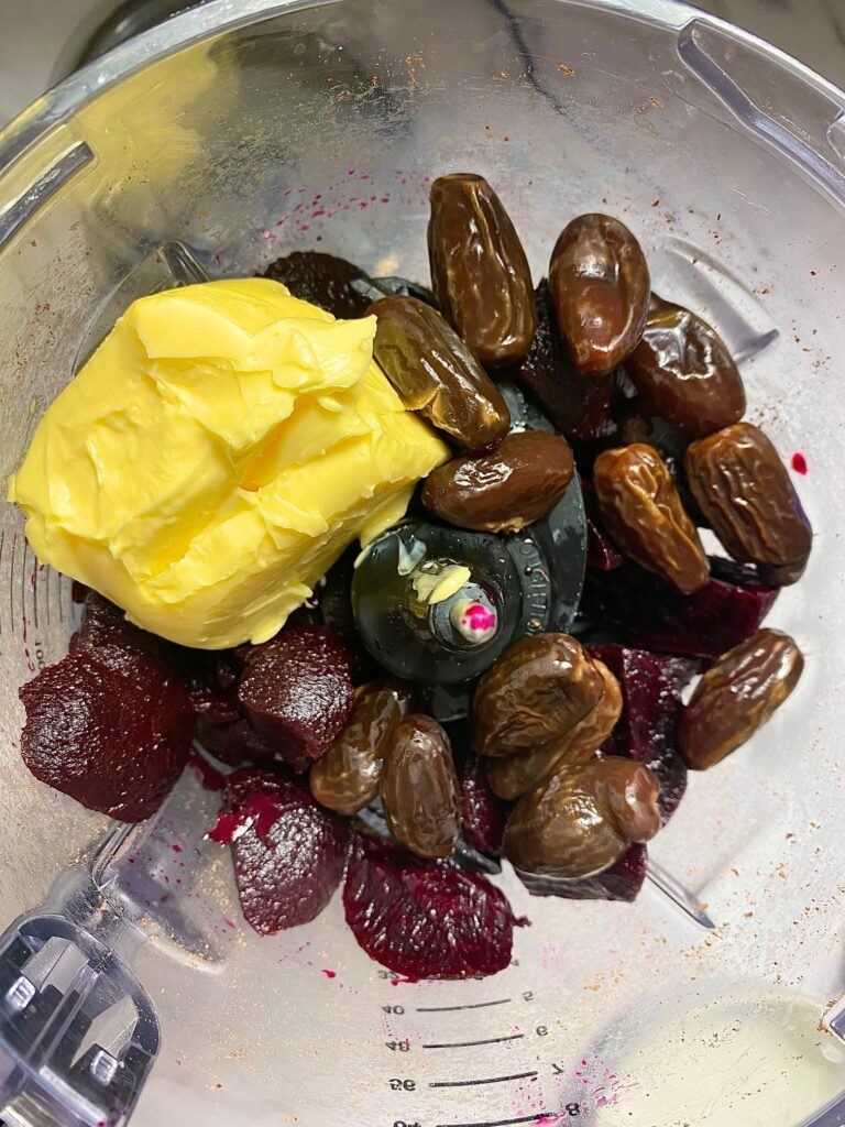 dates, butter, beetroot and chocolate in Ninja food processor