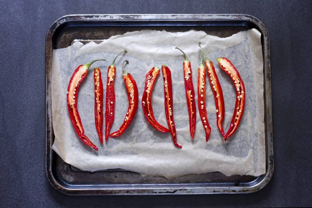 drying chillies in an oven