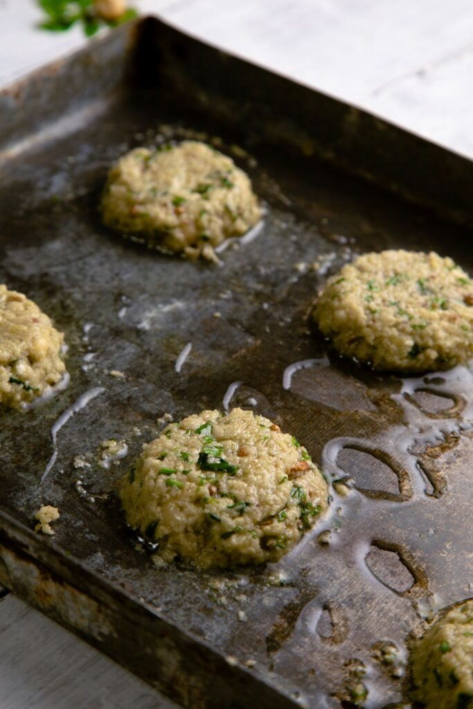 falafel baking tray olive oil
