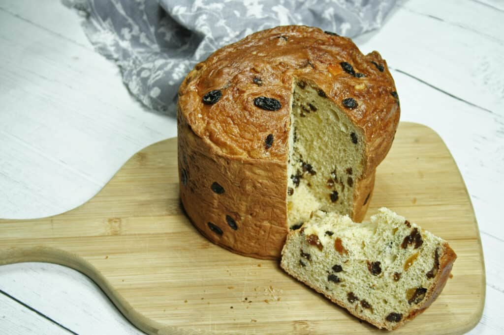 panettone recipe sliced on chopping board