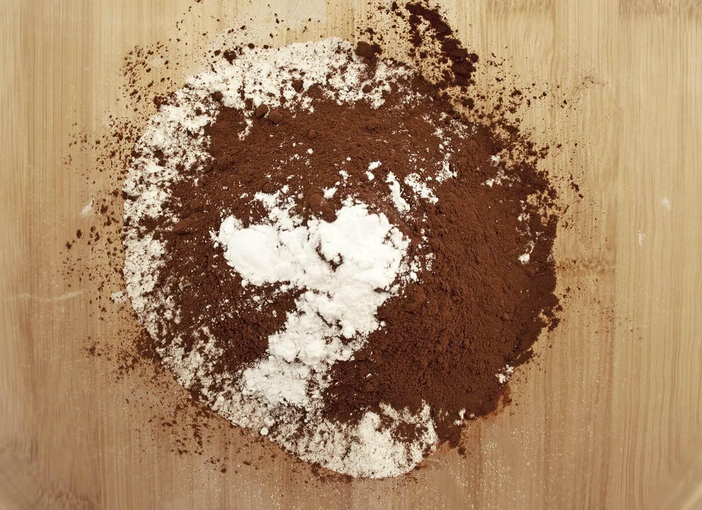 flour cocoa powder and baking powder