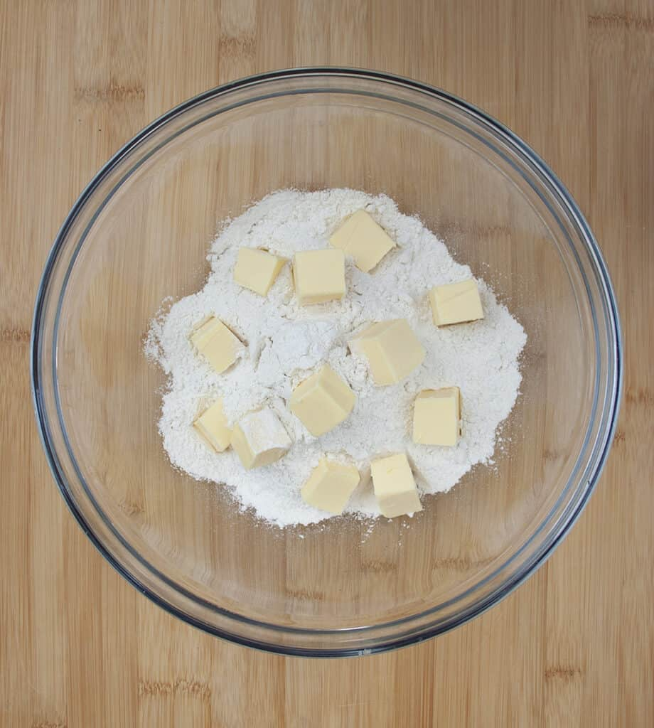 flour and butter in bowl