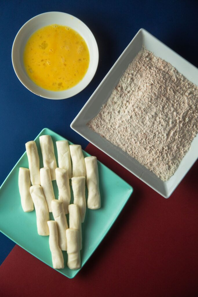 halloumi, flour and beaten egg