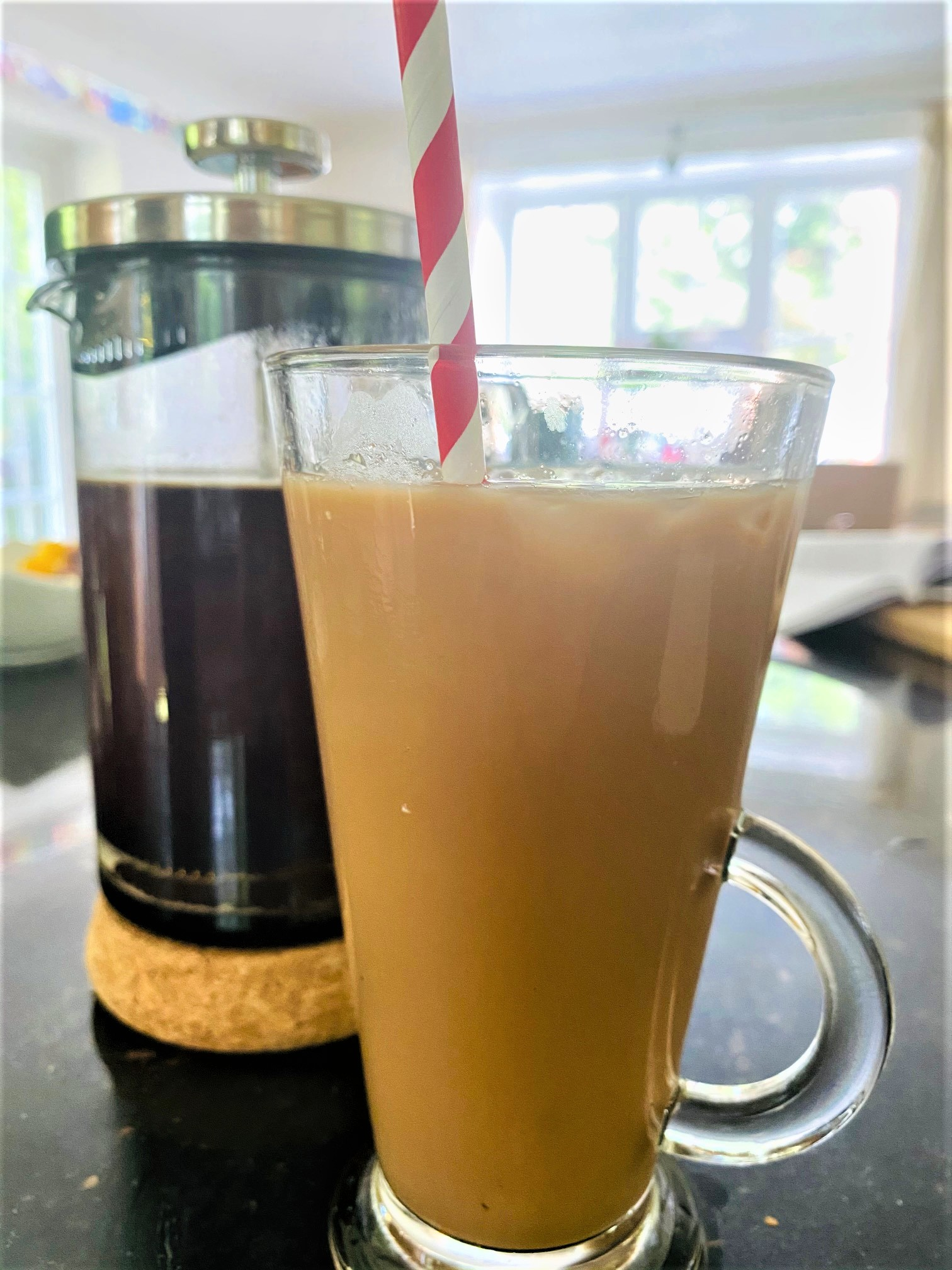 cafetiere and iced coffee