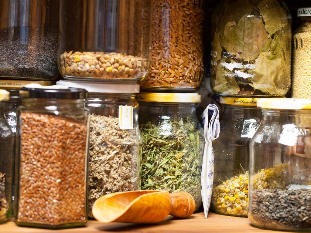 storing dried herbs in glass jars