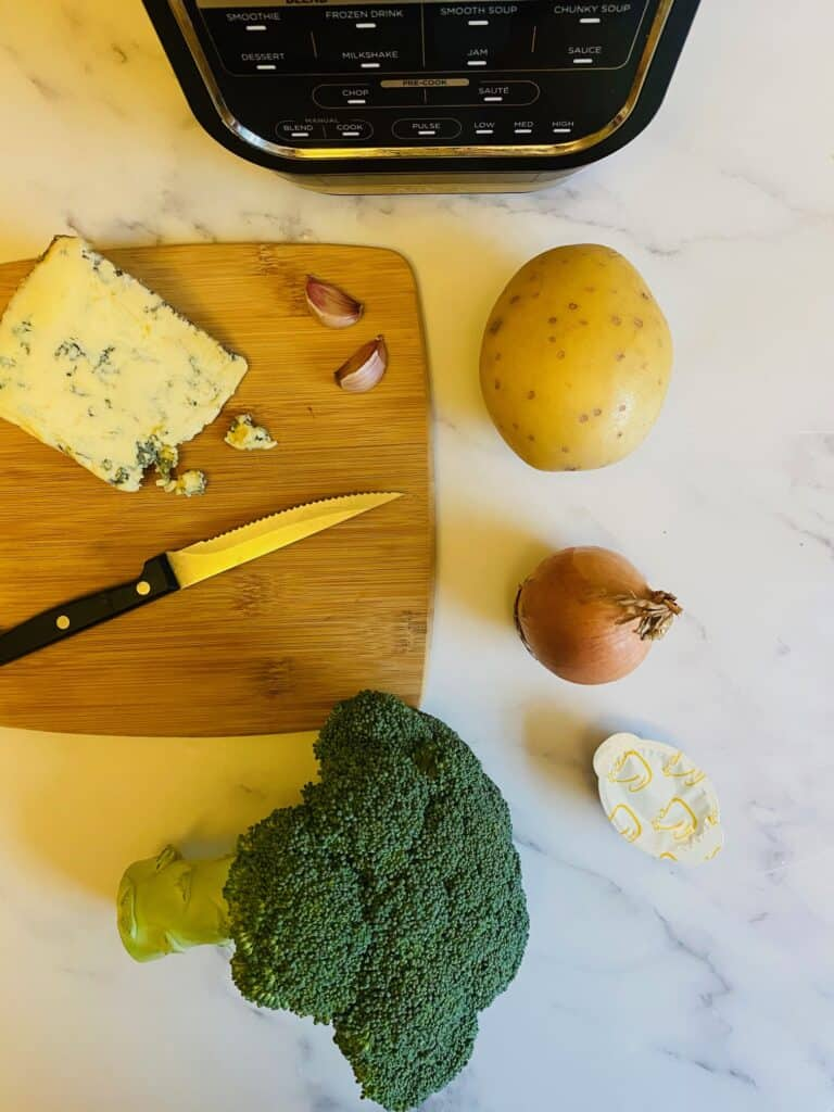 ingredients for Broccoli and Stilton soup maker soup