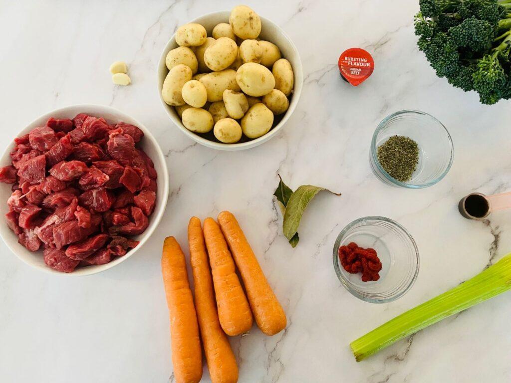 ingredients for Ninja Foodi beef stew
