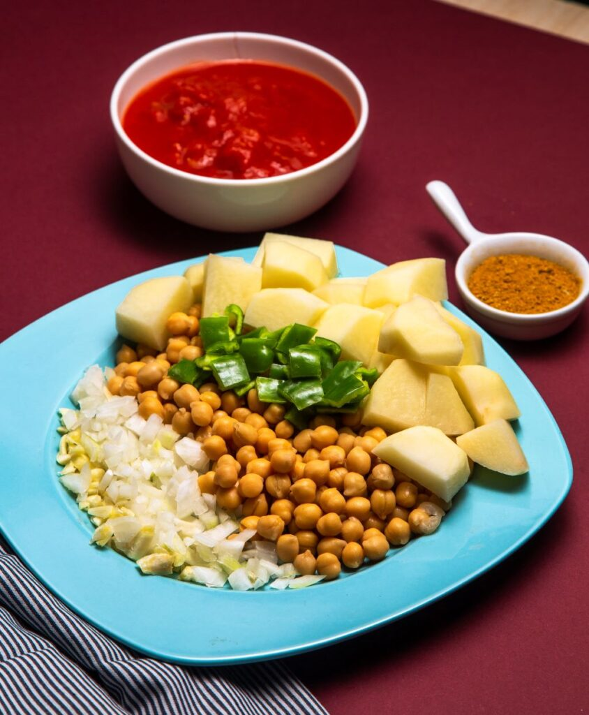 ingredients laid out for slow cooker chickpea curry